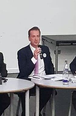 Andrew Waters at the SW Beds Hustings