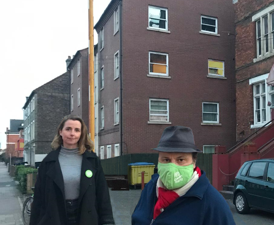 EWR Green Party Councillors outside threatened building