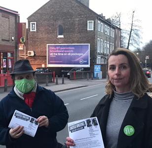 Lucy and Ben Alerting Residents of Ashburnham Road