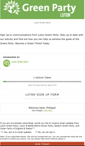 Luton Green Party Sign Up form Image