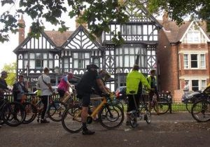 Picture of cyclists outside the Embankment Hotel in Bedford