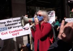 People protesting outside Centene HQ